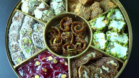 Turkish delight with pistachio rotating macro shot