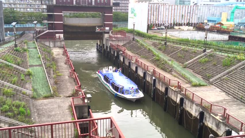 Tokyo, Koto Ward, One Boat Passing the Watergate Canal