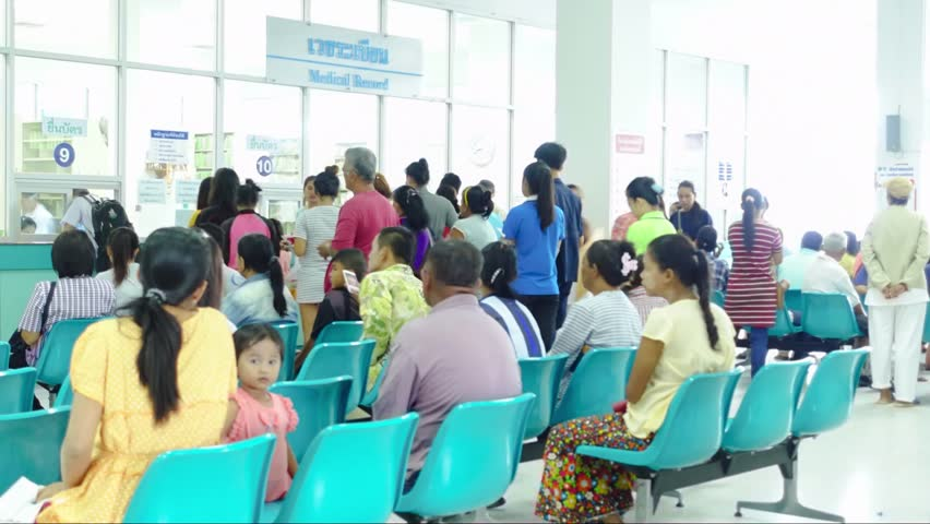 RANONG, THAILAND - June 9 2016 : Unidentified people waiting for doctor or medicine in the room in hospital at Ranong, Thailand.