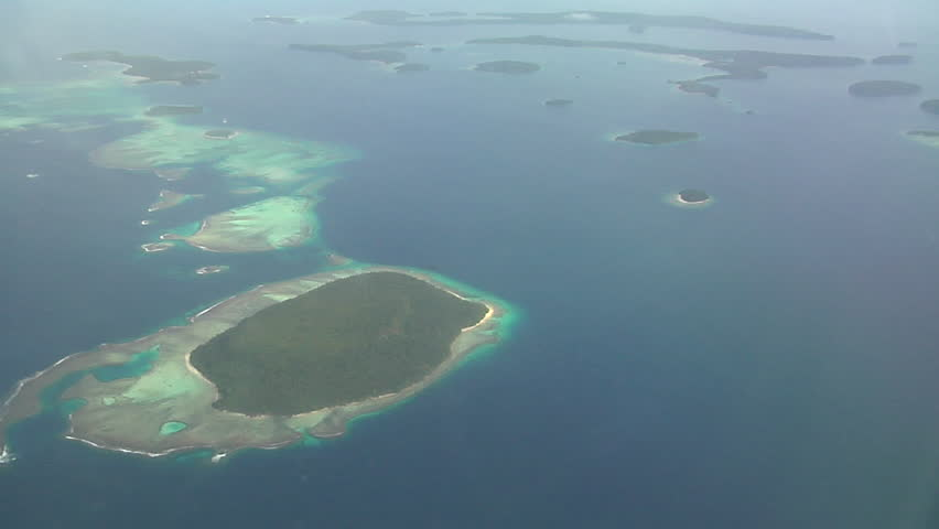 Aerial footage of the South Pacific tropical islands and reefs of Vava'u, in the Kingdom of Tonga, HD, UP15726