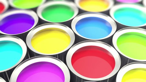 Cans paint, group of tin metal cans with color paint dye, loop-able. 3d animation
