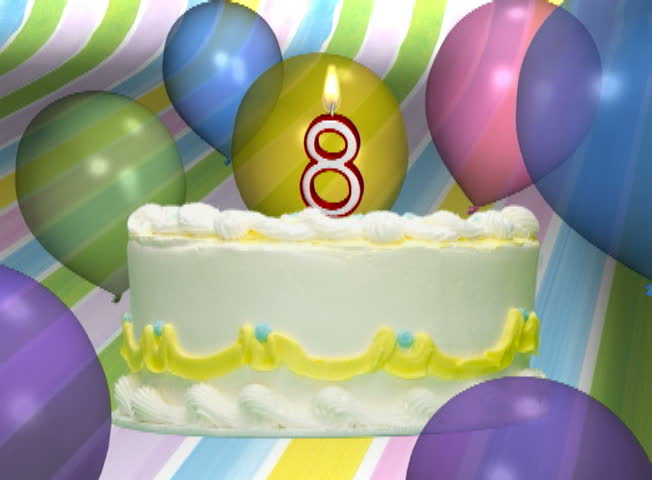 Birthday Cake With Number 8 Candle