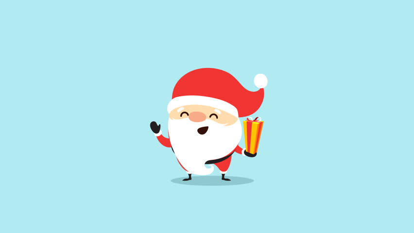 Cute cartoon santa claus and reindeer animation loop cartoon santa claus on blue background and with alpha channel transparent footage santa claus give m4hsunfo Images
