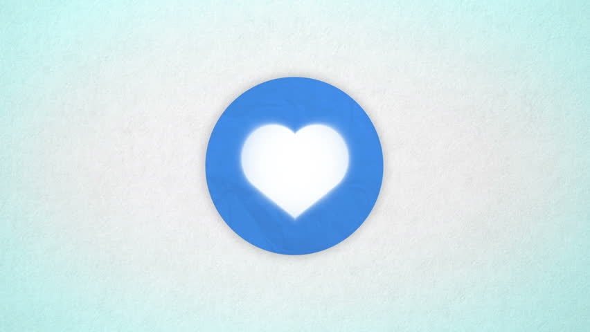 Heart animated. Shape heart in the colored blue circle on the paper textured background. Valentine card, beating animated heart. Intro background for wedding, valentines day themes.