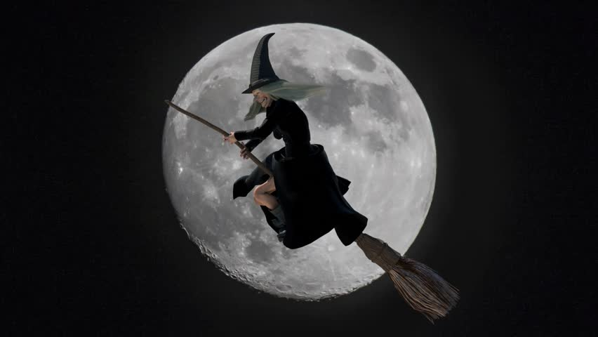 Funny fearful witch flying on a broom on moon background render 3D | Shutterstock HD Video #19794583