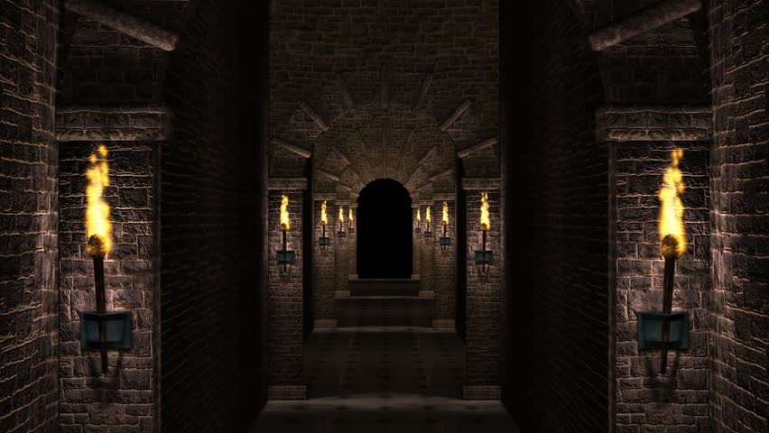 Scary Dungeon Corridor Stock Footage Video 5480024 ...