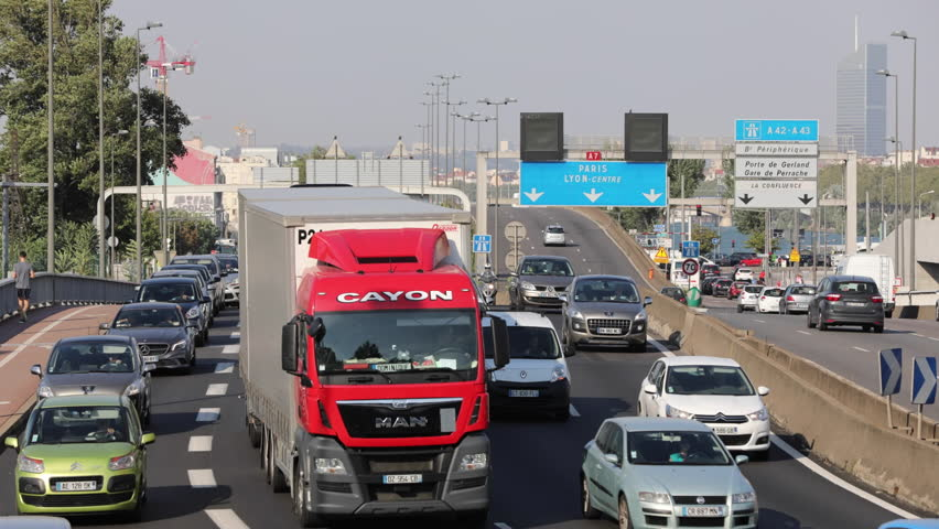 LYON, FRANCE - SEPTEMBER 13, 2016: Traffic and road users on french autoroute A7 in Lyon on September 13, 2016.