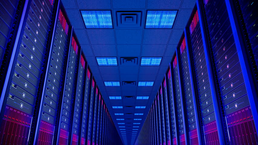 Seamlessly looping animation of rack servers in data center | Shutterstock HD Video #1982275