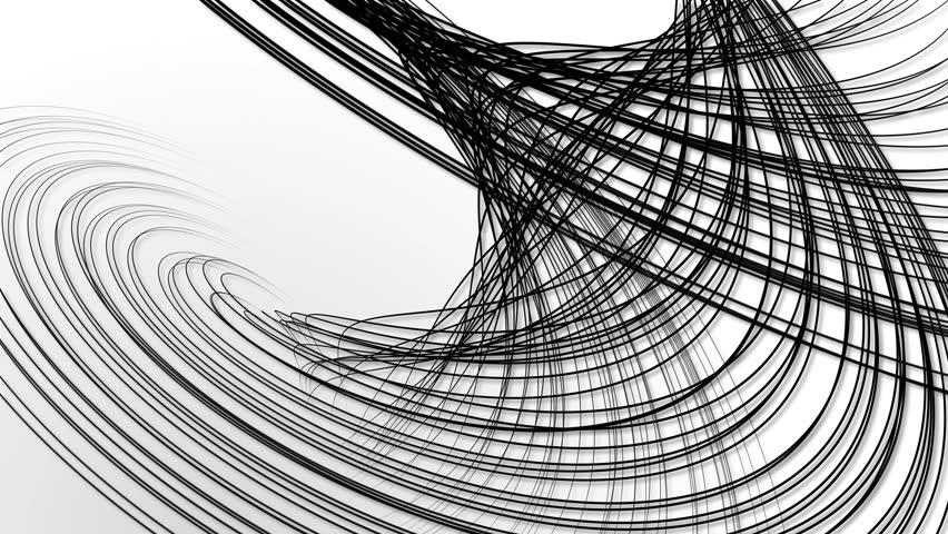 Random wavy black lines white background