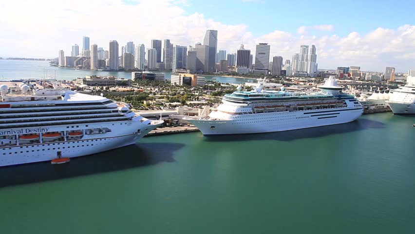 Aerial view of cruise ships in the Port of Miami