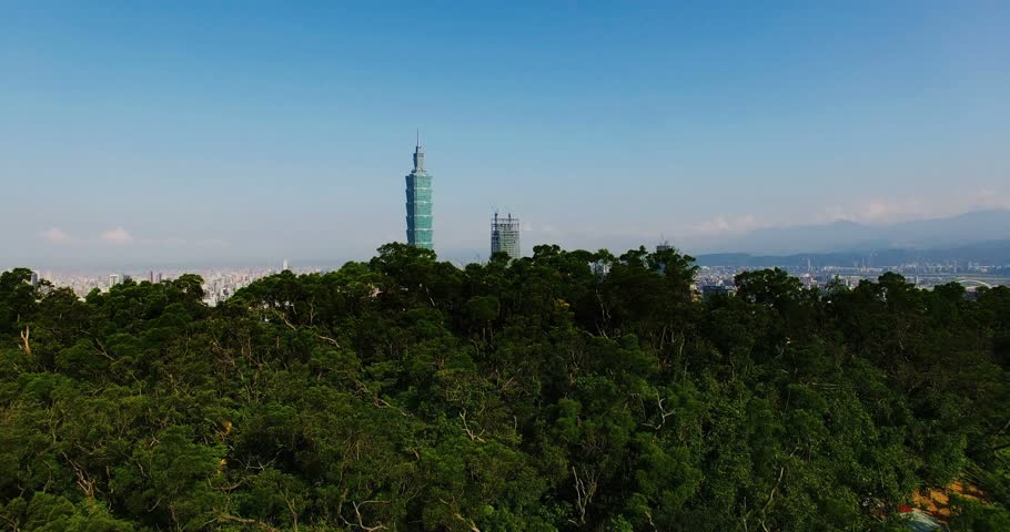 From Mountain flying into the Taipei city, Taiwan