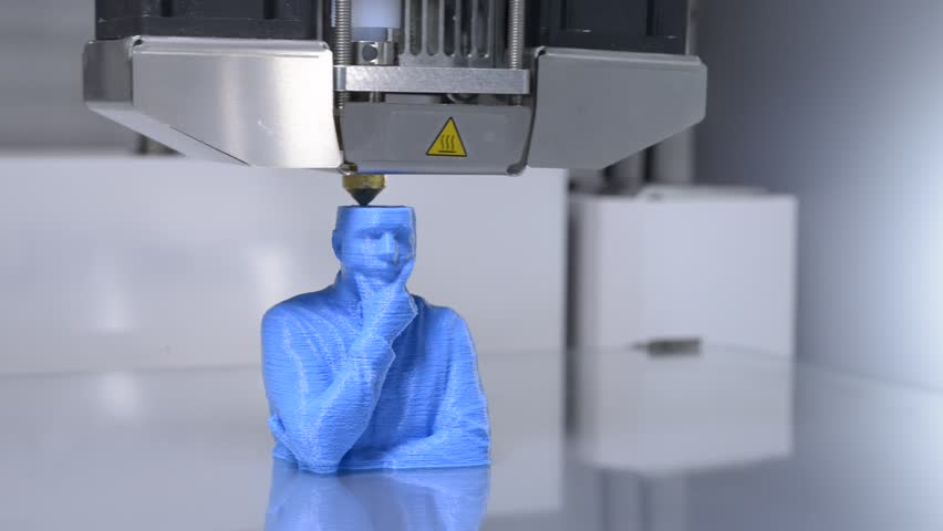 Working 3D printer, printing a human bust with blue filament, real time, Close Up