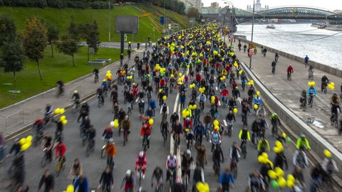 Moscow;Russia,September -twenty fourth-Two thousand sixteen year;parade of bicyclists,bike riders,time lapse