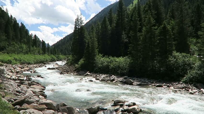 Landscape along the Krimml Achental valley at Krimml waterfalls in Salzburger Land district of Austria. European Alps.