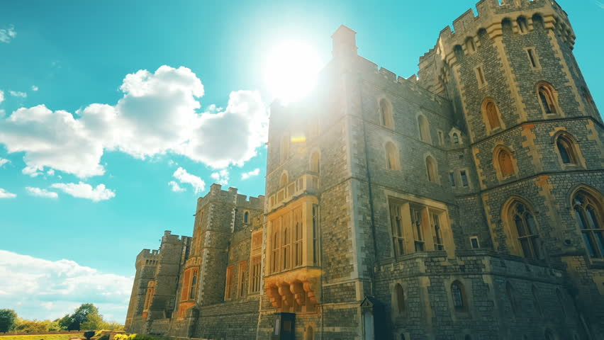 WINDSOR, circa 2017 - An ultra wide angle sweeping shot of the royal Windsor Castle on a glorious sunny day. Windsor Castle is the venue of the 2018 Royal Wedding of Prince Harry and Meghan Markle.