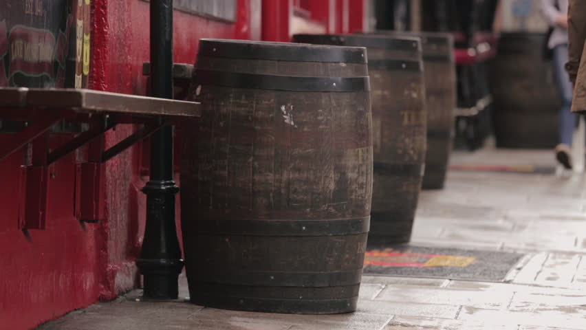 Wooden barrels in Temple Bar, Dublin Ireland.