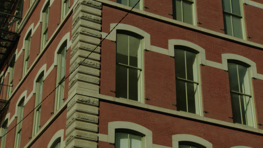 Day Up Angle Hold Tight Windows Large Corner Red Brick Stone Apartment  Building Loft, Then