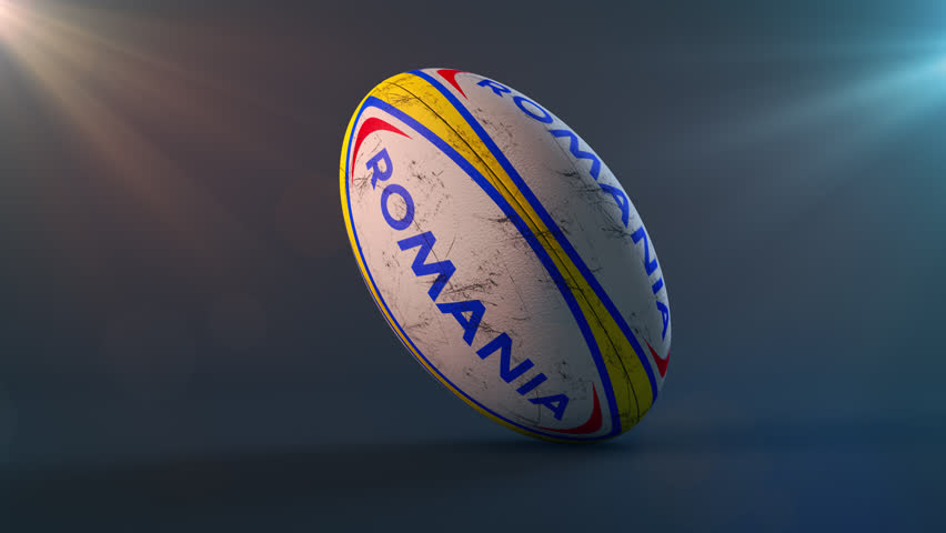 Photorealistic Rugby ball rotating on background with ROMANIA colors and name. Alpha channel included. Seamless loop. Other countries available - check my portfolio. #19948429