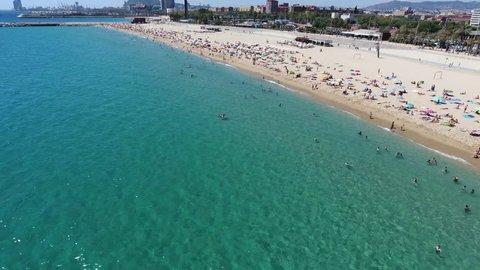 Aerial view of Barceloneta beach, Barcelona, Spain