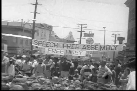 A man makes a speech about fighting the cops at a protest in 1968 Berkeley. (1960s)