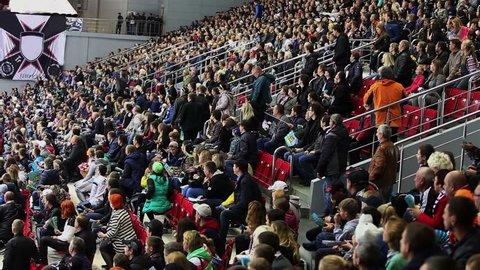 Chelyabinsk, Russia - September 21, 2016: Goal. Fans greet their team applause.