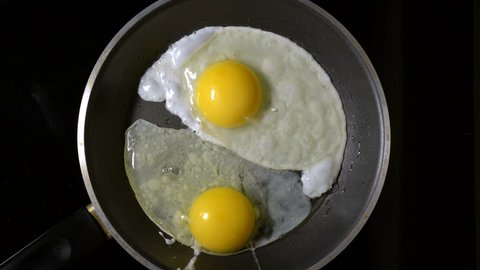 Cooking eggs in a frying pan. Time Lapse. Top view.
