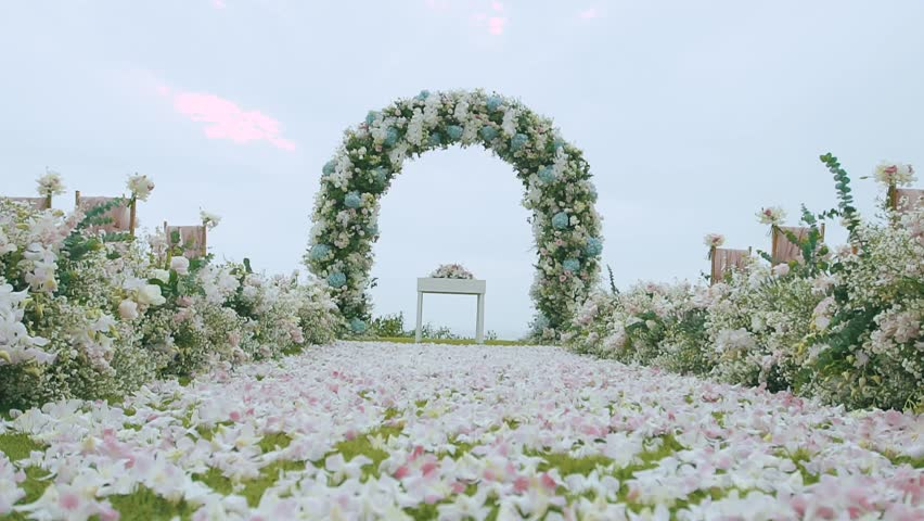 Wedding flower arch decoration wedding arch decorated with wedding flower arch decoration wedding arch decorated with flowers hd stock video clip junglespirit Choice Image