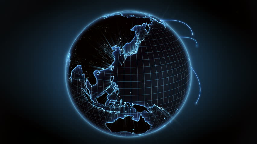 Growing global network across the world. Internet and business concept. Blue version. Loopable. 4K