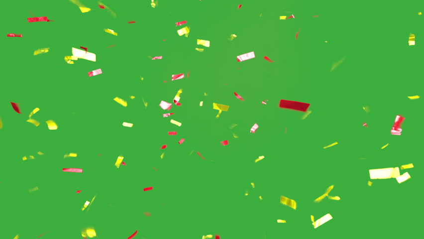 real falling confetti in the colors yellow and red for  advertising, family, club, victories, national or company celebration