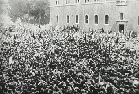 ITALY - CIRCA 1942-1944: World War II, Mussolini Ends War, Crowd Rejoices