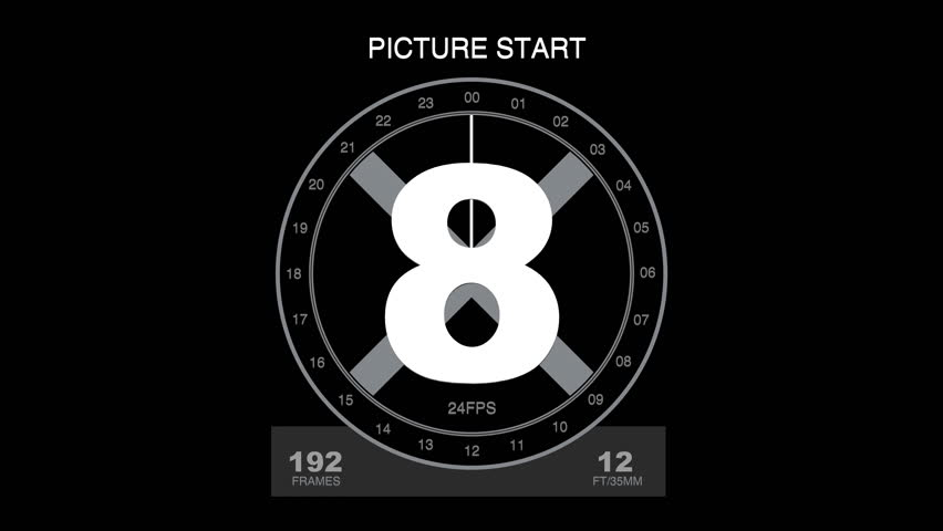 A 24 FPS (SMPTE) leader which counts down 8 seconds and 12ft/35mm (Academy). Do not cut the black frames in the end. First filmframe at 01:00:00:00, pop (2 seconds white frame) at 00:59:58:00.