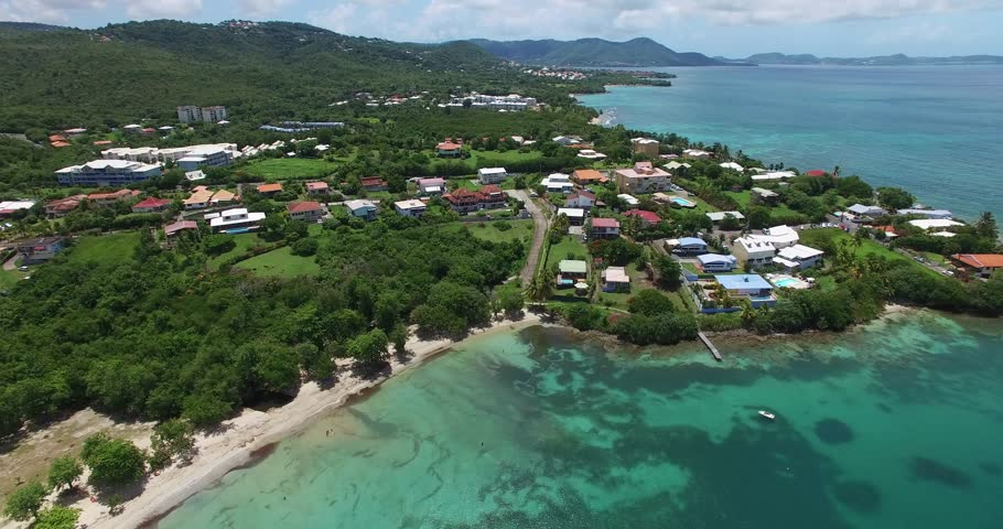 Aerial view of the beaches and hills of the Caribbean island, Sainte Luce, Martinique