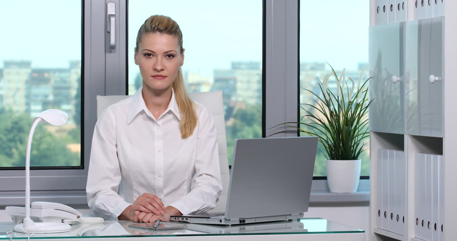 Optimistic Handsome Businesswoman Looking Camera Affirmative Respond ...