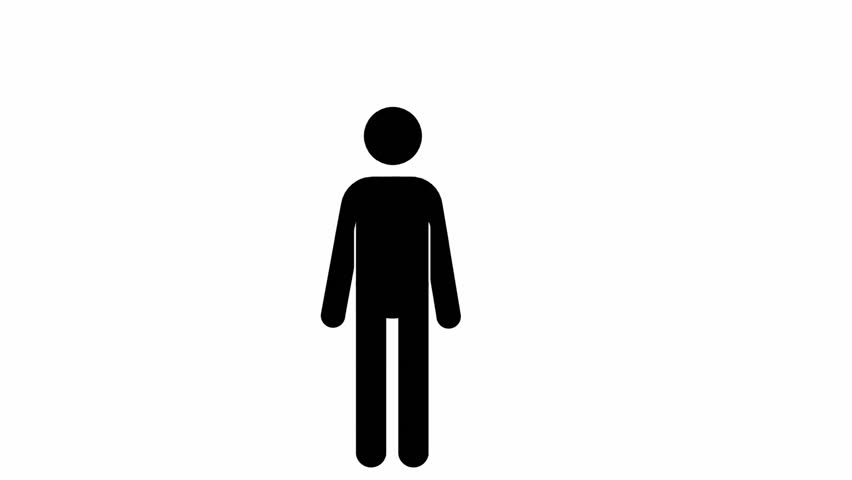 Pictogram man greets, put hands on hips, raises hand..