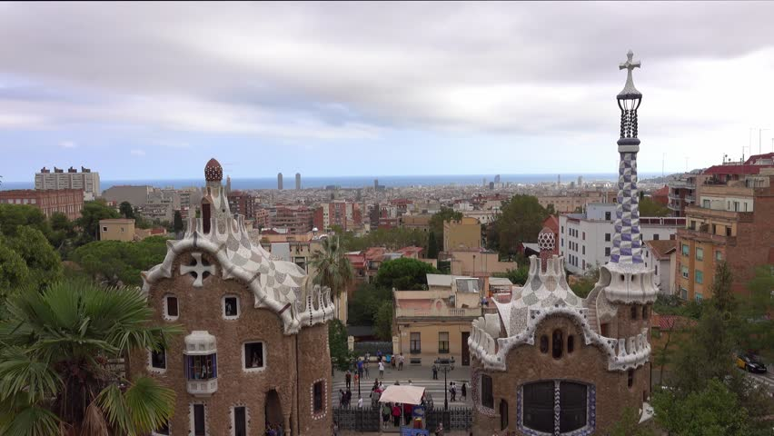 Fantastic aerial view over Barcelona from Park Guell - BARCELONA / SPAIN - OCTOBER 3, 2016 | Shutterstock HD Video #20247355
