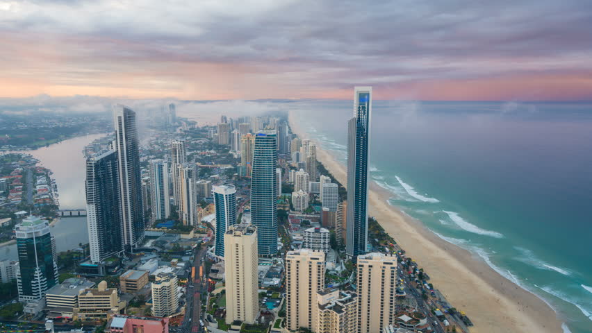 4k timelapse video of Gold Coast, Australia from day to night