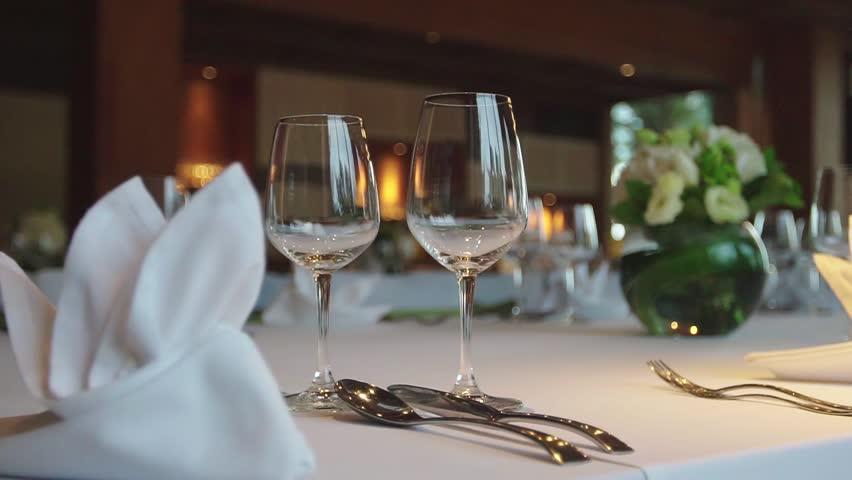 restaurant decoration dinner setup stock footage video 20255839
