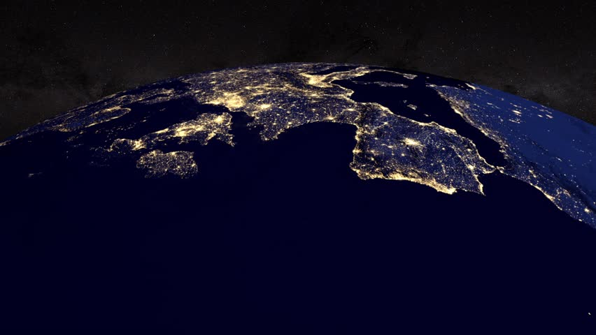 Glowing Network Lines Lighting Up World Map Stock Footage Video - World map from outer space