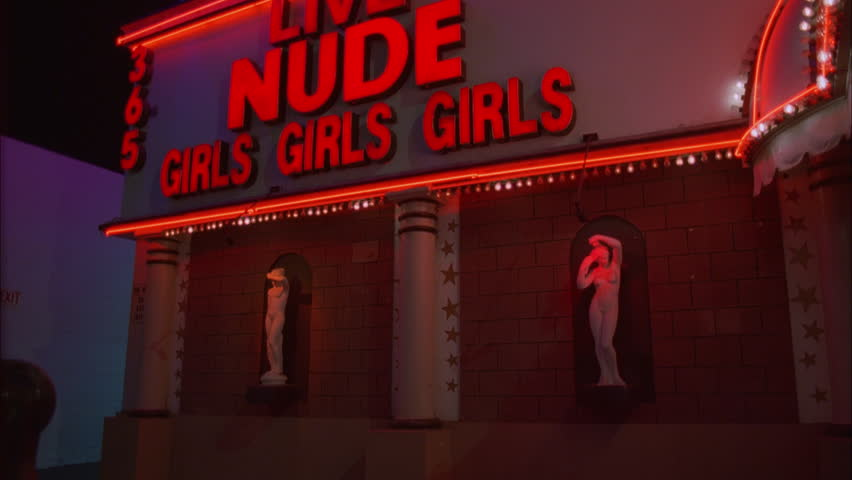 night Tight Static right brick stone Nude Girls Girls strip club nude bar awning, twinkle lights two Greek Roman style nude women statues pedestals wall adult entertainment, XXX