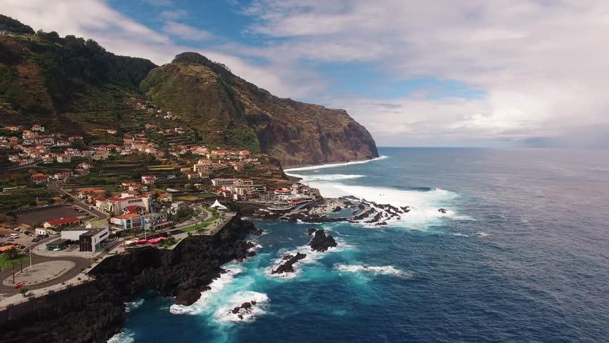 View of Porto Moniz Madeira aerial view
