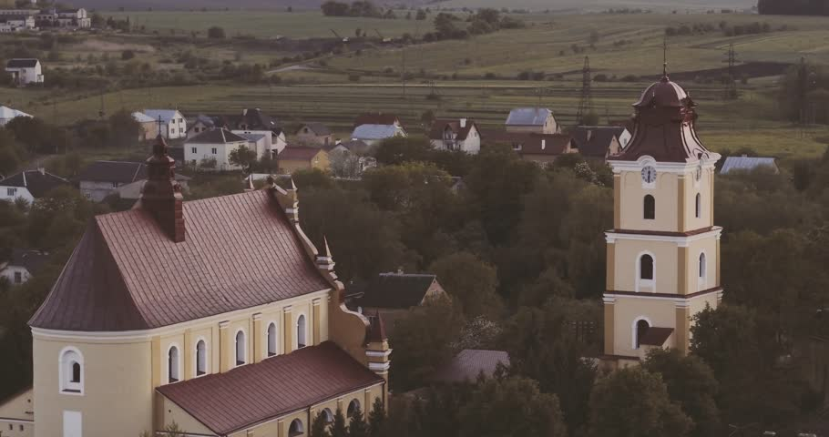 Aerial shot Catholic Kostel in city Rudky