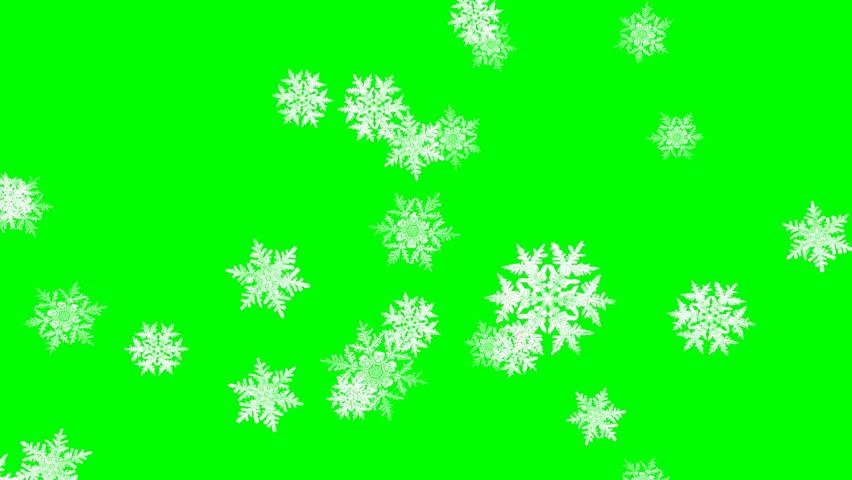 Falling snowflakes in winter  â?? loop, green screen