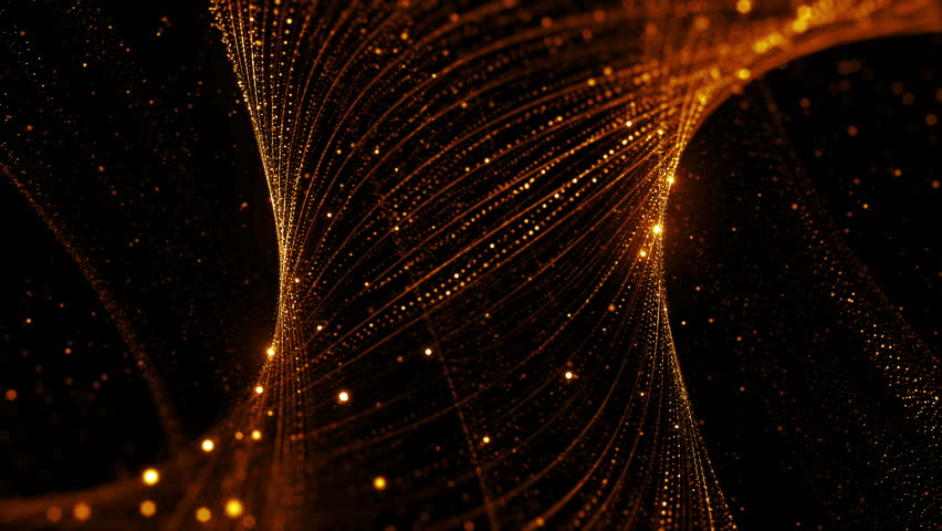 3d rendering background with twisted particle strings. Dark digital abstract background. Beautiful glowing concept form. Loop animation.