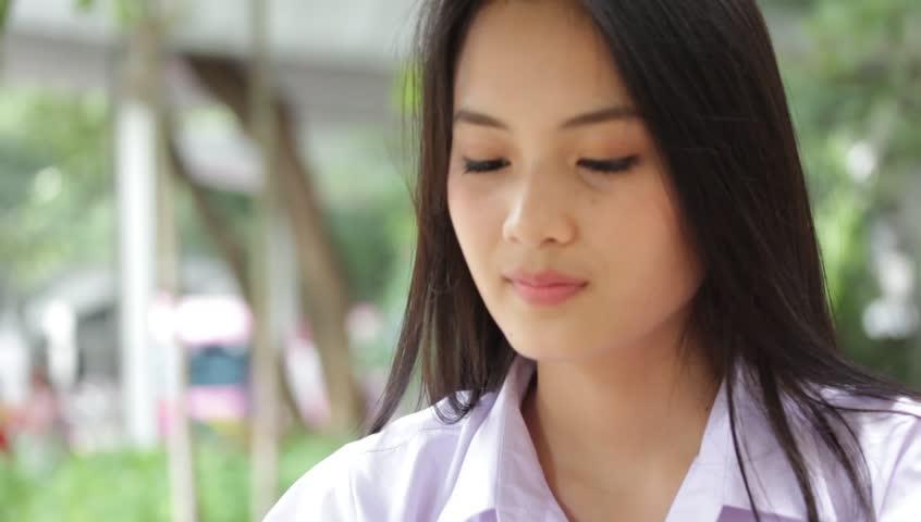 Portrait of thai high school student uniform teen beautiful girl portrait of thai high school student uniform teen beautiful girl calling smart phone hd stock voltagebd Gallery