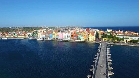 Aerial of the Queen Emma Bridge in Curacao