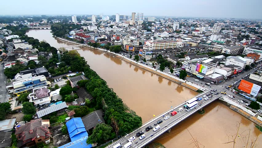 CHIANG MAI, THAILAND - September, 2016, 21: Top view of Chiang Mai City Scape, bridge and ping river in Chiang Mai
