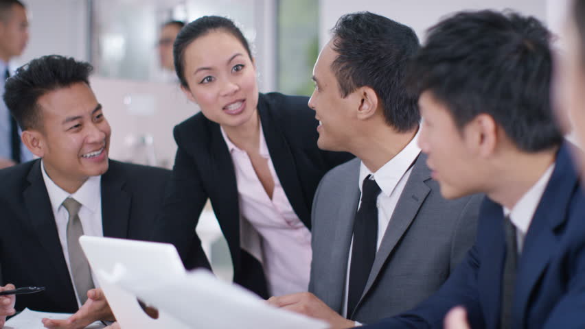 4K Asian corporate business group in discussion in business meeting. Shot on RED Epic. | Shutterstock HD Video #20373469