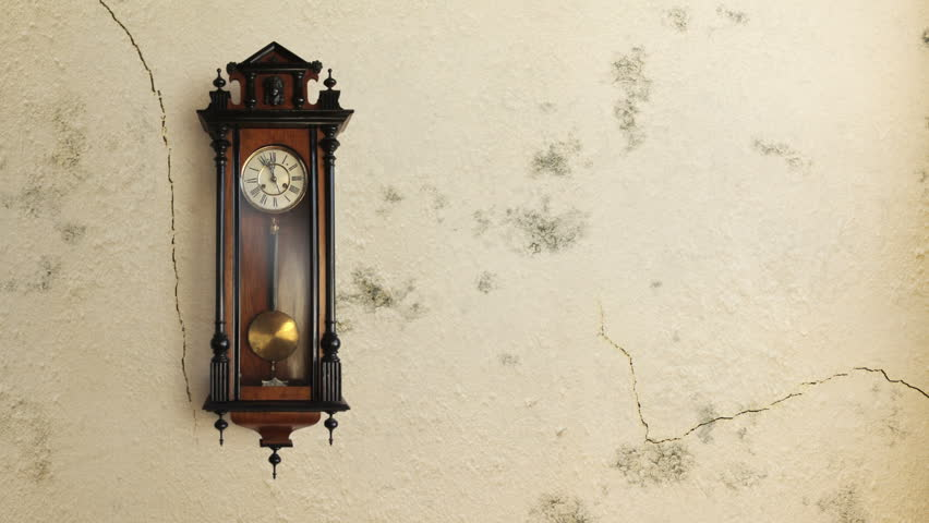 Vintage grandfather clock ticking in real time over a time lapse wall that develops damp and cracks and peels. Includes original audio. VFX composite.