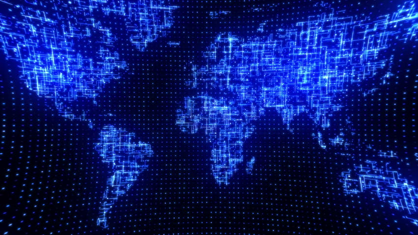 Stock video of digital blue world map loop 2975536 shutterstock hd0020seamless motion graphics background for broadcast tv films exhibition and presentations about digital technologies web communications networks gumiabroncs Gallery