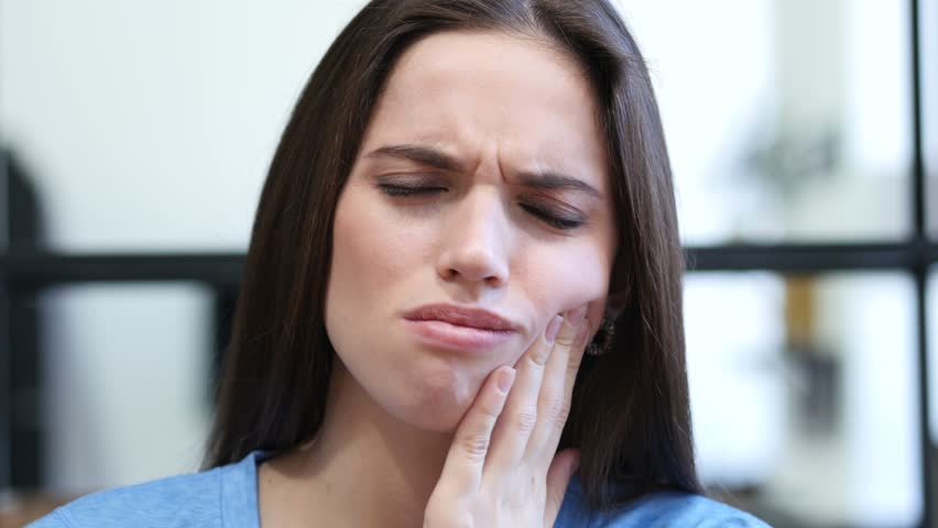 Toothache, Woman Suffering from Pain In Teeth, Indoor